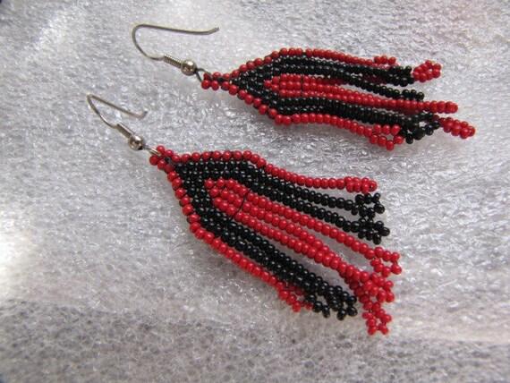 Southwest Black Red Beaded Earrings