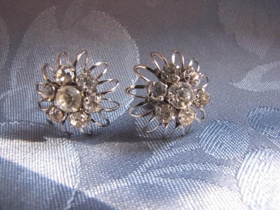 Vintage Rhinestone Earrings Silvertone