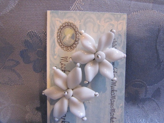 Vintage White Glass Petal Bead Earrings