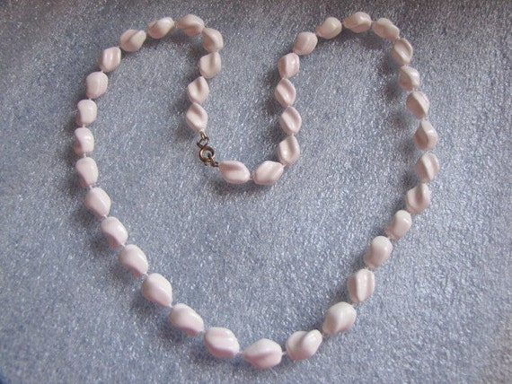 Twisted Necklace Vintage Off White Beads