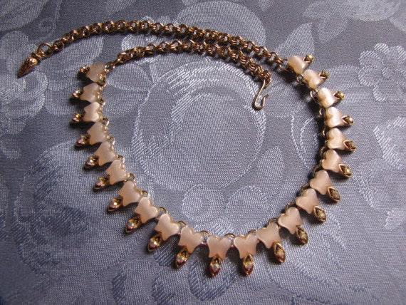 Vintage Aurora Borealis Rhinestones White Thermoset Necklace Goldtone