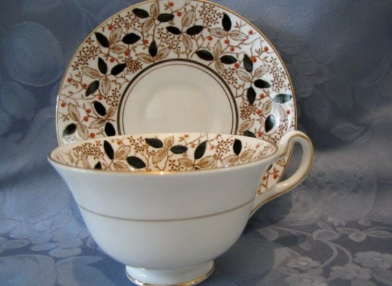 Vintage English Bone China Teacup Saucer Black Gold Orange Leaves