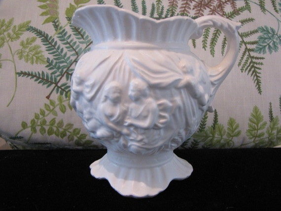 Vintage Inarco White Embossed Pitcher Lovers Cherubs