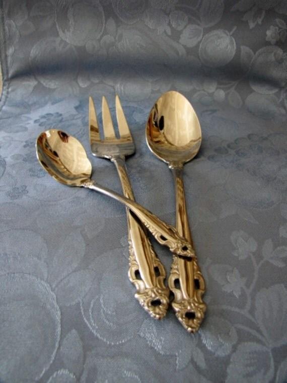 Vintage Gorham Flatware Pierced Baroque Three Piece Hostess Set Fork Spoon Nut Spoon