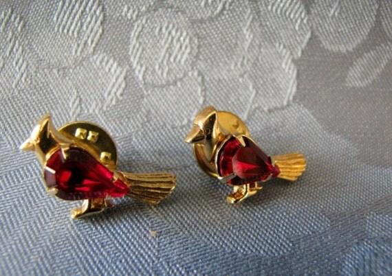 Vintage Tac Pin Red Rhinestones Cardinal Birds