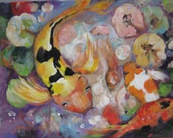 """Dancing Koi, Original Painting,16'X20"""""""