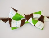 Bowtie Green and Brown Argyle Adjustable Pre-Tied