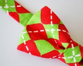 Christmas Bowtie Red and Green Argyle
