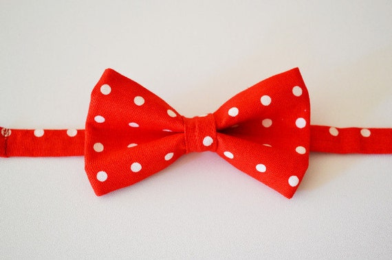 Bright Red Polka Dot Adjustable Bowtie