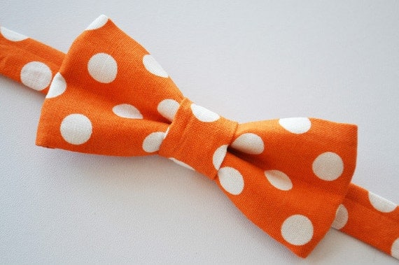 Bow Tie Boys Orange With White Dots Ages 2-10