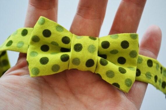 Baby Boy Bowtie- Green Polka Dot