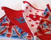 Royal British bunting with Hand Appliqued Crowns & Hearts, 2m60 long, perfect for Jubilee Celebrations,Themed Parties, Bedrooms