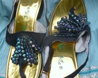 60's GLAM ShowGirl Blue sparkle Sandals by Vic and Vic Size 9 Medium