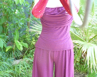 Vintage WrapAround Halter top and Bell bottom pants Costume by KitKatCabaret on Etsy