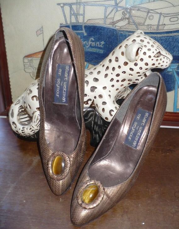 60s Vintage Stuart Weitzman snakeskin Pin Up Pumps size 7