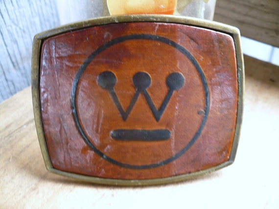Vintage 1980s WestingHouse Logo Belt Buckle in leather Made in USA