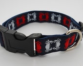 Adjustable Dog Collar Crabby -- Red White and Blue Crabs