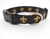 Saints Fleur de lis Adjustable Dog Collar - Black and Gold
