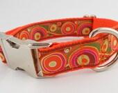 Colorful Modern Orange Circles Dog Collar with Metal Buckle