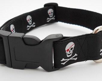 Preppy Black Pirate Dog Collar