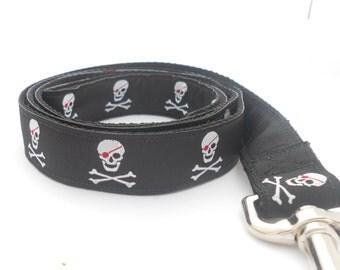Black Pirate Skull and Crossbones Custom Dog Leash with Black Lining