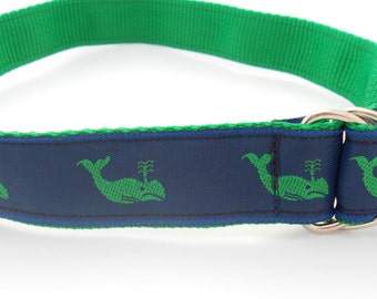 Preppy Boys Belt - Navy and Green Whales