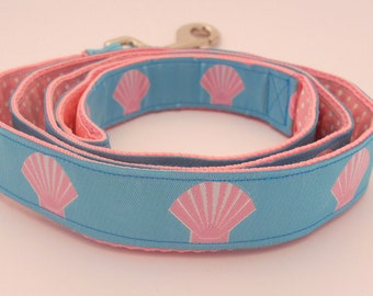 Custom Dog Leash Turquoise with Pink Seashells and Pink Swiss Dots