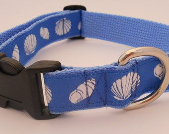 Seashell Dog Collar - Blue with White Shells