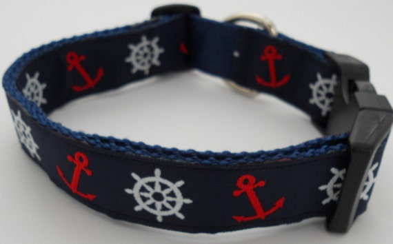 Nautical  Dog Collar - Anchors and Ships Wheels on Navy