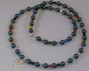 Crystal pearl and sterling silver snowflake necklace CHARITY DONATION