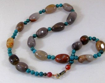 Agate and turquoise necklace: charity donation