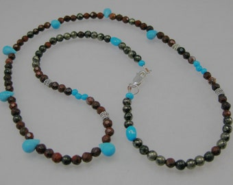 Sleeping Beauty turquoise, brecciated jasper, pyrite and sterling silver necklace: charity donation