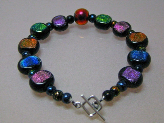 Colorful dichroic glass bracelet: charity donation