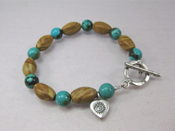Turquoise, tigerskin jasper and silver heart charm bracelet: charity donation