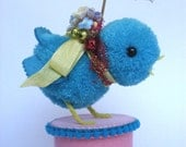 Turquoise Chick with Umbrella