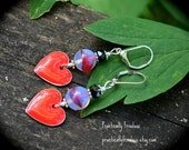 Queen of Hearts earrings red valentine heart cats eye