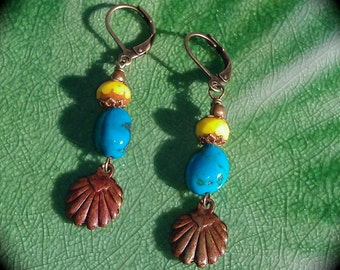 Turquoise and Copper Seashell Earrings turquoise and yellow colorful jewelry