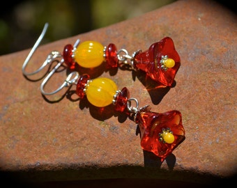 Red Flower Earrings handmade red yellow and silver unique jewelry gift