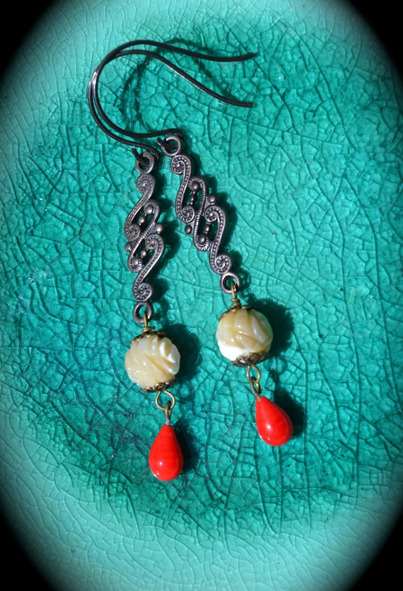 Carved Mother of Pearl Earrings with vintage red glass teardrop handmade gift