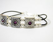 Victorian  genuine leather silver plated free style bracelet
