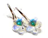 Sterling Silver 925 Stud Earrings Swarovski Crystal Ab Flower  , gift / bride