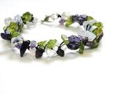 Summer spring amethyst, peridot, moon stone bracelet