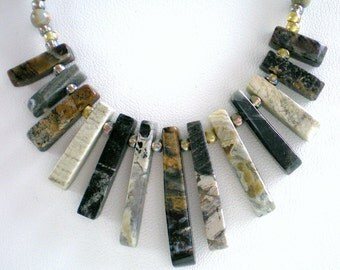 Jasper Cleopatra Necklace, Bib, Fan, Mini Collar, Agate Necklace, Earthtones