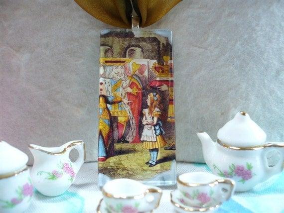 Alice in Wonderland, Glass Photo Pendant, Wearable Art Pendant, Queen of Hearts
