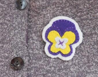 Purple and Yellow felt pansy pin