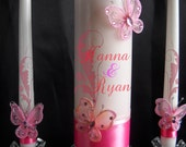 Pink Butterfly Unity  Candle Set