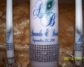 Bling Peacock  Feather Unity Candle Set