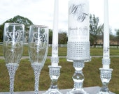 Lots of Bling .....Unity Candle -Holders -Flutes - Cake Server - Silver - personalized - monogram - wedding - ceremony - love - unite - gift