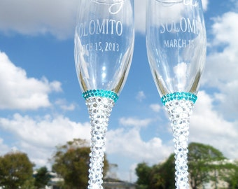 Wedding Flutes ...........Something Blue