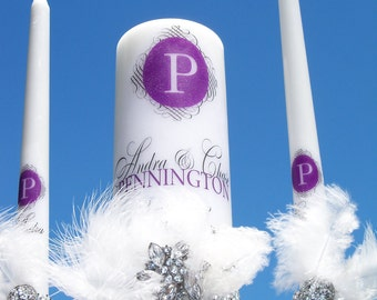 Pretty in Purple..................Unity candle and holder set